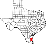 Map of Texas showing Kenedy County