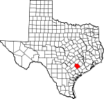 Map of Texas showing Lavaca County