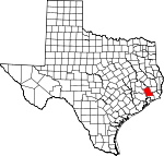 Map of Texas showing Liberty County