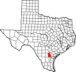 Map of Texas showing Live Oak County