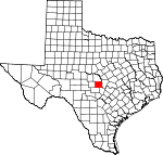 Map of Texas showing Llano County