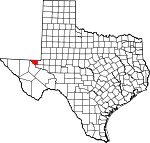 Map of Texas showing Loving County