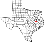 Map of Texas showing Madison County