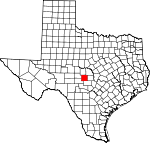 Map of Texas showing Mason County