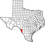 Map of Texas showing Maverick County