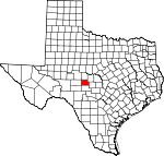 Map of Texas showing Menard County