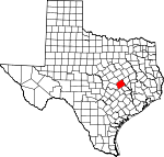 Map of Texas showing Milam County