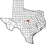 Map of Texas showing Mills County