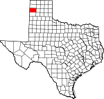 Map of Texas showing Oldham County