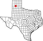 Map of Texas showing Randall County