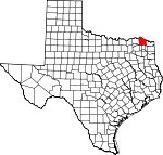 Map of Texas showing Red River County