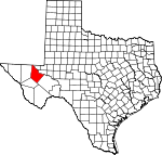 Map of Texas showing Reeves County