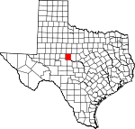 Map of Texas showing Runnels County