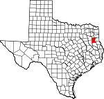 Map of Texas showing Rusk County
