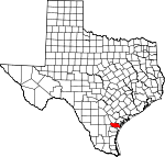 Map of Texas showing San Patricio County