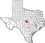 Map of Texas showing San Saba County