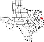 Map of Texas showing Shelby County