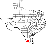 Map of Texas showing Starr County