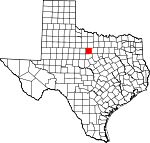 Map of Texas showing Stephens County