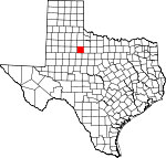 Map of Texas showing Stonewall County