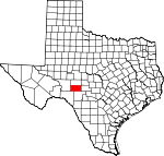 Map of Texas showing Sutton County