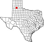 Map of Texas showing Swisher County