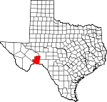 Map of Texas showing Terrell County