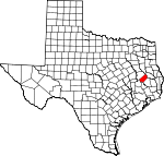 Map of Texas showing Trinity County