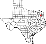 Map of Texas showing Upshur County