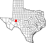 Map of Texas showing Upton County