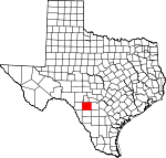 Map of Texas showing Uvalde County