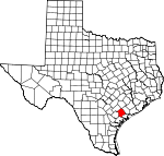 Map of Texas showing Victoria County