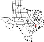 Map of Texas showing Waller County