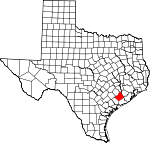 Map of Texas showing Wharton County