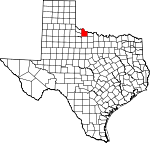 Map of Texas showing Wilbarger County