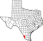 Map of Texas showing Zapata County