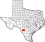 Map of Texas showing Zavala County