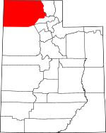 Map of Utah showing Box Elder County
