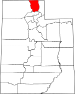 Map of Utah showing Cache County