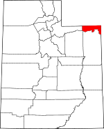 Map of Utah showing Daggett County