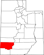Map of Utah showing Iron County
