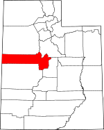 Map of Utah showing Juab County