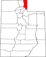 Map of Utah showing Rich County