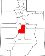 Map of Utah showing Sanpete County
