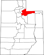 Map of Utah showing Summit County