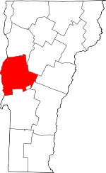 Map of Vermont showing Addison County