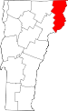 Map of Vermont showing Essex County