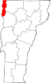 Map of Vermont showing Grand Isle County