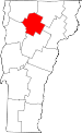 Map of Vermont showing Lamoille County