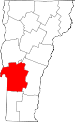 Map of Vermont showing Rutland County